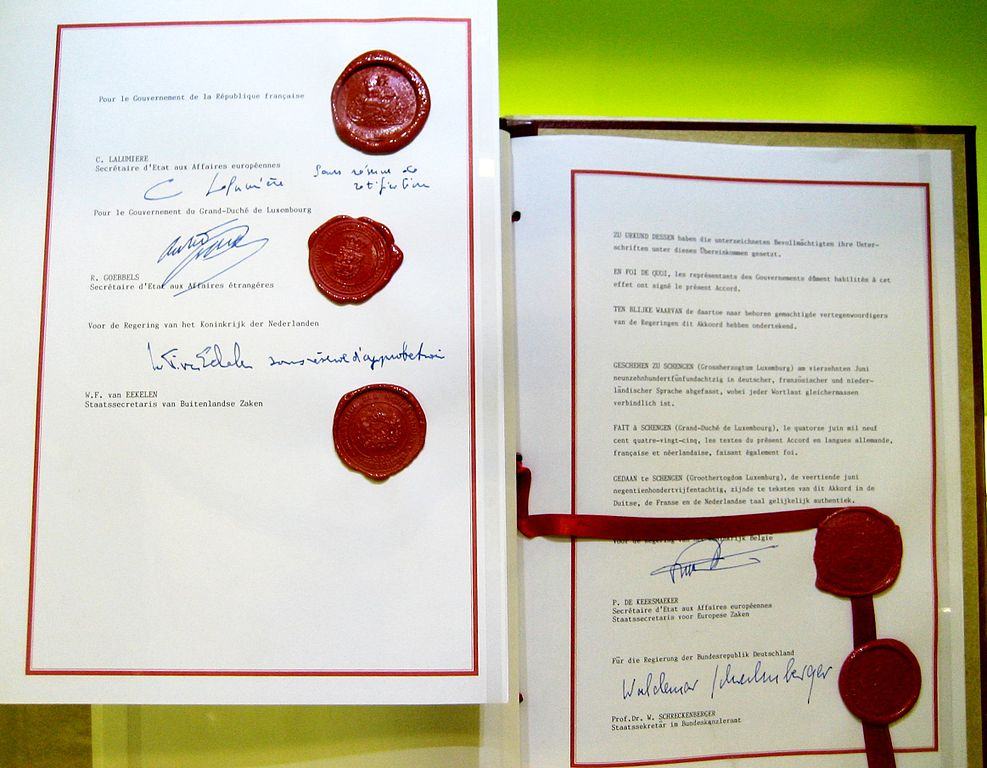 Schengen Agreement signed 1985-06-14, on show in Schengen Treaty Museum in Schengen, Luxembourg. http://commons.wikimedia.org/wiki/File:Schengen_Agreement_%281985%29_signatures.jpg, User: Zinneke