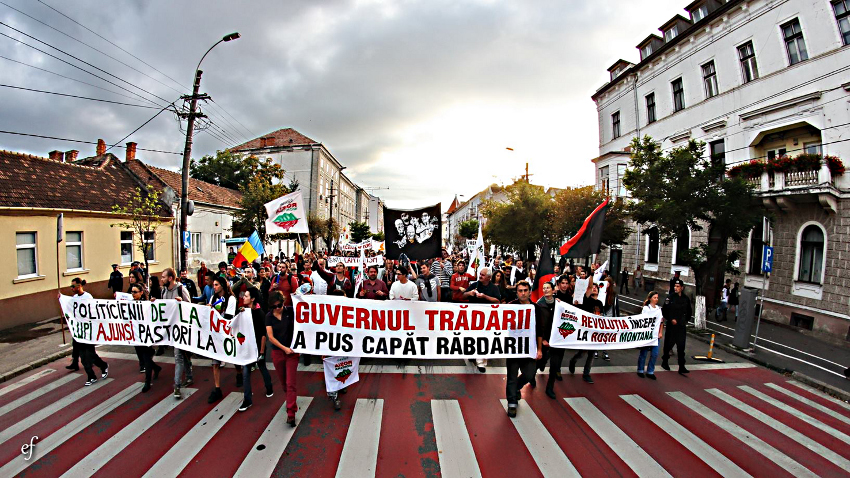 Demonstration in Klausenburg/ Cluj, Herbst 2013 (Quelle: Kampagne Save Rosia Montana!)